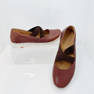 Born Brown Leather Slip-On Shoes
